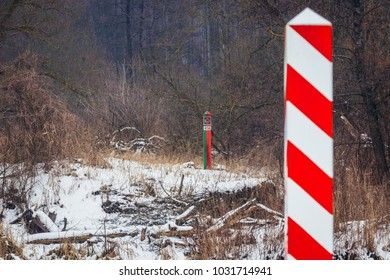 Border poles of Poland and Belarus seen from Mostowlany, small village in Podlasie ergion of Poland