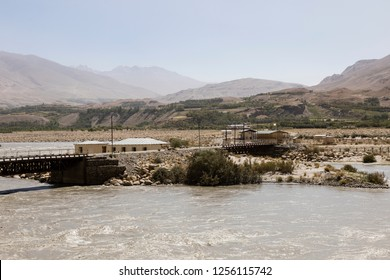 Border post between Tajikistan and Afghanistan with the Panj River near Ishkoshim