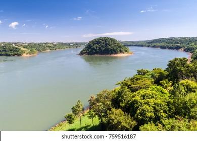 Border river Parana between Brazil and Paraguay