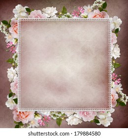 Border of roses, lace  on vintage background