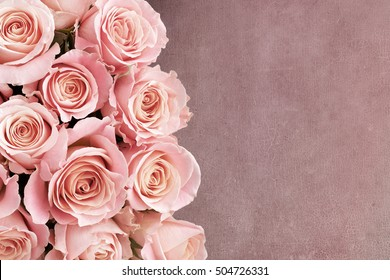 Border of Roses with textured background and space for text