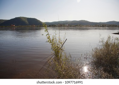 The border Russia and China, Amur river, the Far East of Russia, sunny day, autumn.