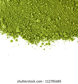 border surface close up of powdered green tea  isolated on white background