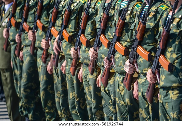 Border troops soldiers take the oath, military uniform soldiers
