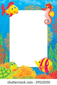 Border with tropical fishes and corals