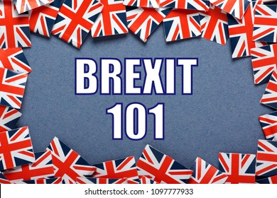 A border of United Kingdom flags with the phrase Brexit 101 in white text as an introduction to the referendum result to leave the European Union