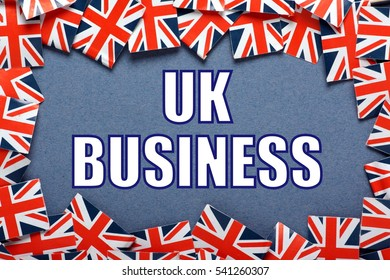 A border of United Kingdom Flags with the words UK Business added in white text on the background