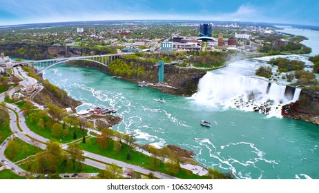 The border of USA and Canada with Niagara Falls