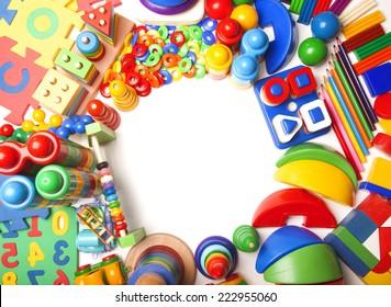 border of very many kids toys