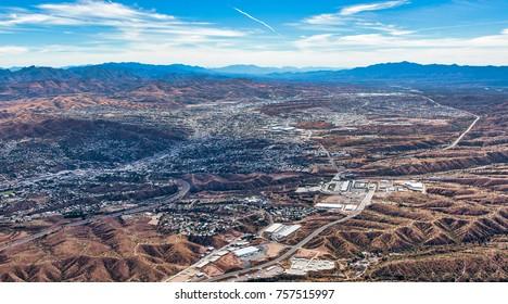 Border Wall aerial view looking into Nogales, Mexico from Nogales, Arizona, USA
