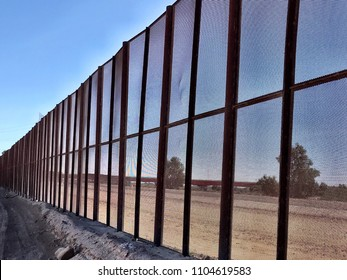 Border wall between the United States and Mexico near San Luis, Arizona 2017