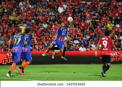 Bordin Phala no.10 (blue) of Thai Port F.C. in action during The Football Thai League match between SCG Muangthong United and Thai Port F.C.at SCG Stadium on February20,2019 in Nonthaburi, Thailand