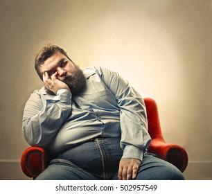 Bored chubby man