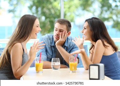 Bored man listening his friends conversation in a coffee shop or hotel on the beach