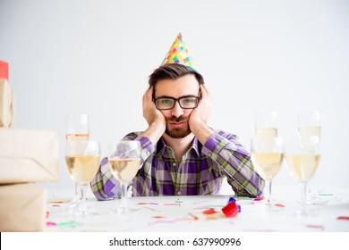 Bored man at party