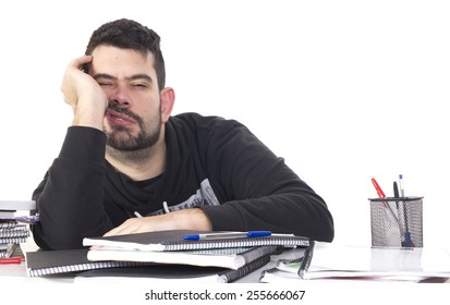 Bored student on table