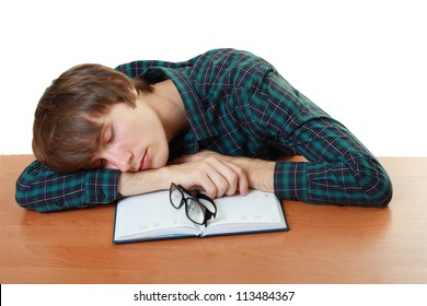 bored and tired student sleeping after hard work for exam