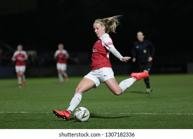 BOREHAMWOOD, HERTFORDSHIRE / UNITED KINGDOM - FEBRUARY 7 2019: Arsenal's Beth Mead in action against Manchester United in the semifinal of the FAWSL Continental League Cup.