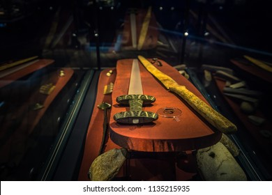 Borg - June 15, 2018: Viking age weapons in the Lofotr Viking Museum at the town of Borg in the Lofoten Islands, Norway