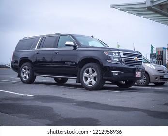 BORGARNES, ICELAND-OCTOBER 23, 2018: The eleventh generation Chevrolet Suburban (GMC Yukon XL, Yukon Denali XL) at city streets