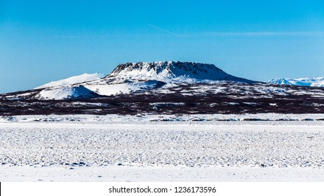 Borgarnes view during winter which is a town located on a peninsula at the shore of Borgarfjordur, Iceland
