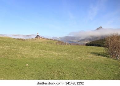 BORGE, LOFOTEN ISLANDS / NORWAY - MAY 19 2019: Lofotr Viking Museum. Lanscape view on the Borge church in Vestvagoya, Lofoten islands