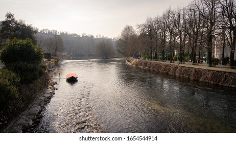 Borghetto sul Mincio, Verona, Italy. View on the Mincio river. The Mincio is a river in northern Italy, the only emissary of Lake Garda and the last left tributary of the Po