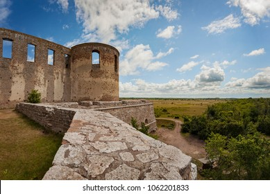 Borgholm ruins with ramparts and walls. Oland, Sweden.
