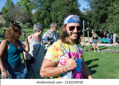 BORGO DI TRAGLIATA, ROME, ITALY - JULY 8, 2018: Hippie people at the seventh season of Woodstock, born from the desire to bring together peace, solidarity, respect for the environment and friendship.
