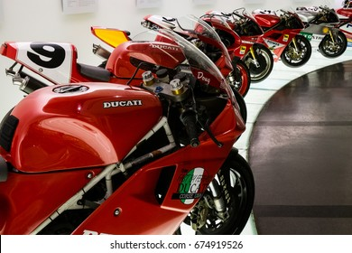 BORGO PANIGALE - BOLOGNA, ITALY - June, 2017. Ducati Museum exhibit 90's Superbike race motorcyle