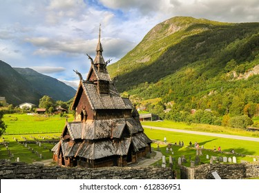 Borgund stave wooden church in Western Norway at sunny summer day