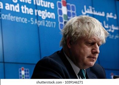 Boris Johnson, Secretary of State for Foreign Affairs gives a press conference in Brussels, Belgium on   Apr. 05, 2017.
