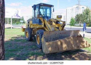 Borisov, Belarus - July 05, 2018: powerful road construction equipment on the construction of a highway.