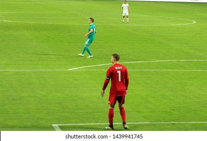 Borisov. Belarus. June 08, 2019. Goalkeeper of the German and Bayern Munich Manuel Neuer in the football match Belarus - Germany. The star of world football is a national team player in red with numbe