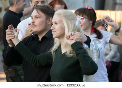 Borisov / Belarus - June 9, 2017:  People dance traditional Jewish dances. Jewish folklore.