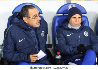 Borisov, Belarus - November 8, 2018 : Group stage UEFA Europa League BATE, Borisov - Chelsea, London at the stadium Borisov-Arena. Head coach of the team Chelsea Maurizio Sarri