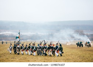 BORISOV, MINSK REGION - NOVEMBER 26, 2017:Reconstructors, dressed soldiers of Napoleonic soldiers in the Battle of Berezina for historical reconstruction in Belarus. Color photo.World War