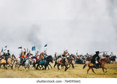 BORISOV, MINSK REGION - NOVEMBER 26, 2017:Reconstructors, dressed soldiers of Napoleonic soldiers in the Battle of Berezina for historical reconstruction in Belarus. Color photo.