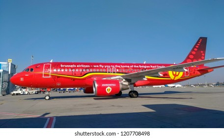 """Borispil - Ukraine - October 2018: Belgian airline plane """"Trident"""" that arrived to Kiev on the first flight as part of the expansion of the air traffic program between Kiev and Brussels."""