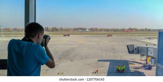 "Borispil - Ukraine - October 2018: Photographer shoots Belgian airline plane ""Trident"" that arrived to Kiev, new air traffic program between Belgium and Ukraine."