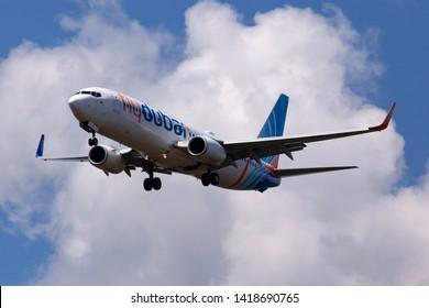 Borispol, Ukraine - June 07, 2019: A6-FEJ flydubai Boeing 737-8KN(WL) aircraft on the cloudy sky background