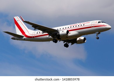 Borispol, Ukraine - June 07, 2019: SP-LIH Polish Government Embraer ERJ-175LR (ERJ-170-200 LR) aircraft on the cloudy sky background
