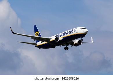 Borispol, Ukraine - June 07, 2019: EI-GDM Ryanair Boeing 737-8AS(WL) aircraft on the cloudy sky background