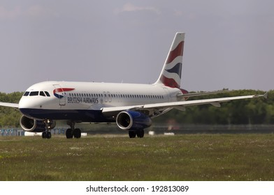 Borispol, Ukraine - May 11, 2014: British Airways Airbus A320-232 aircraft preparing for take-off from the runway of Borispol International Airport on May 11, 2014. Editorial use only