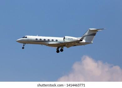 Borispol, Ukraine - May 25, 2018: 4X-CPX Gulfstream IVSP Arkia Israeli Airlines aircraft on the blue sky background