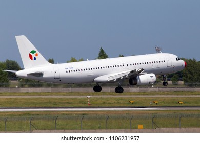 Borispol, Ukraine - May 26, 2018: OY-LHD Danish Air Transport (DAT) Airbus A320-200 aircraft landing on the runway of Borispol International Airport. Editorial use only