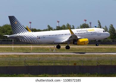 Borispol, Ukraine - May 26, 2018: EC-MXP Vueling Airbus A320-200 aircraft landing on the runway of Borispol International Airport. Editorial use only