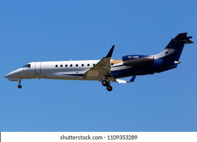 Borispol, Ukraine - May 26, 2018: TC-VSR Embraer EMB-135BJ Legacy 600 business jet aircraft on the blue sky background. Editorial use only