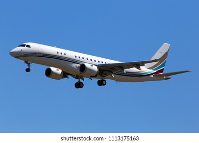 Borispol, Ukraine - May 26, 2018: OO-NGI Flying Service Embraer Lineage 1000 (ERJ-190-100 ECJ) aircraft on the blue sky background