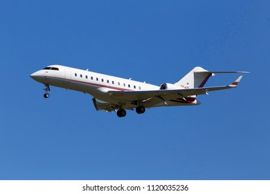 Borispol, Ukraine - May 26, 2018: T7-ATL Bombardier BD-700-1A10 Global Express business jet aircraft on the blue sky background